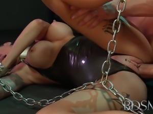 BDSM XXX Young sub gets so wet when chained up and dominated