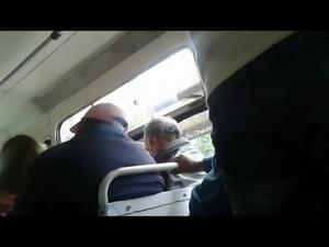 Touching ass in bus