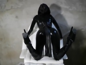 brit latex catsuit model