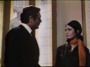 woman wearing a beautiful scarf in 70's movie