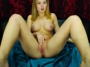 blue eyed blonde sexy lady strips for cam