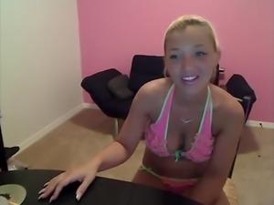 Christina Models In A Pink Bikini
