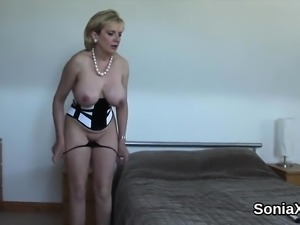 Cheating british milf lady sonia displays her monster boobs