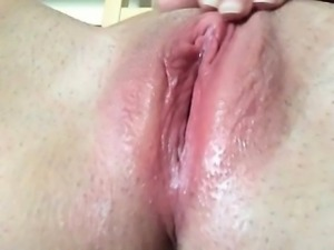 Fat shaved cunt leaking with juice