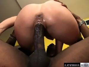 Sexy young brunette gets her tight twat sucked and fucked by a big ebony dick