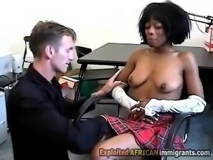 Ebony schoolgirl gets seduced by her horny white teacher.