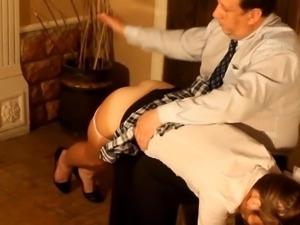 stepdad spanks girl