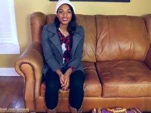 Amateur girl on casting couch masturbates to orgasm