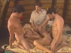 Blonde slut takes on 3 cock during safari in Africa - sluttypussycams.com