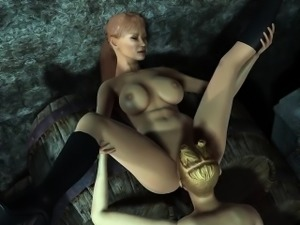 3D Dyke Fingers Hersellf While Licking Pussy