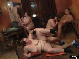 Fat bitch spreads legs for cock