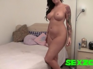 Thick Girl with Tattoos Strip Tease Big Tits Slightly Chubby