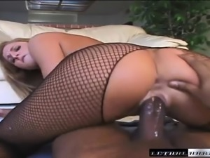 Astonishing blonde Lauren Phoenix takes a black pole up her ass in POV