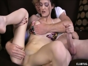 Slender brunette with big round tits Monica works her hands on a dick