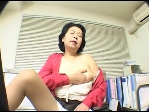 Lovely big titties on this asian granny