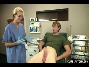 Jonny has a kinky blonde doctor pleasing his long dick with her hands