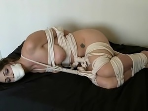 Kymberly Jane tape gagged and fullly tied up with rope