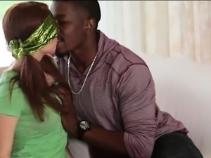 Teen babe gets fucked by big black cock while blindfolded