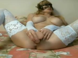 Big Boob Blonde Russian Cam Girl In White Lace