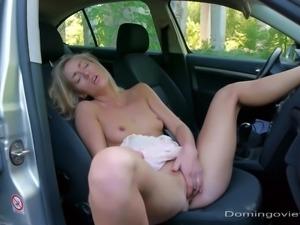 Highway slut masturbate in the car