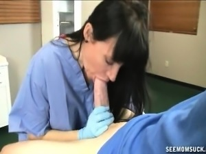 Horny brunette mom Angie Niore sticks a young man's cock in her mouth