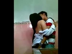 Asian Couple Fucking In School Toilet