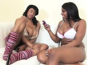 Two bodacious ebony beauties bring their lesbian fantasy to fruition