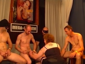 Kinky mature mom gets hard gangbang