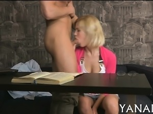 Playful playgirl enjoys hard dick in her ass hole and mouth