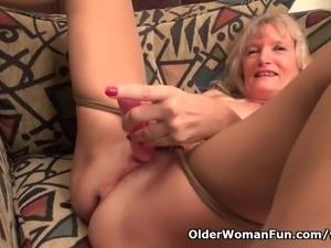 Granny Claire fucks herself with a dildo