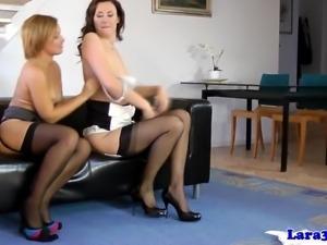 British milf in stockings trio sucking cock
