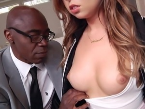 This Latina cutie slobbers all over her man's massive black cock. The spit...