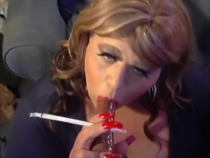 Sissy Diane Le Queen Smoking And Dildo Sucking (Training For Real Cocks)