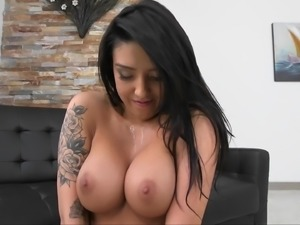 Tattooed Latina riding and taking a cumshot