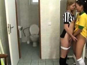 Mya lovely lesbian Brazilian player pulverizing the referee