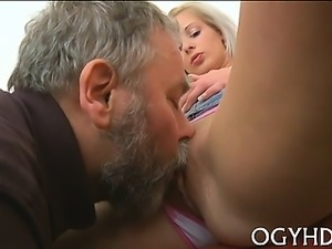 Young playgirl gets brave to suck old cock of a chap
