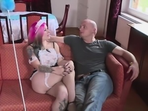 Slutty maid with big tits enjoys a good hard fuck