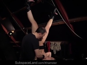 Exhausting bondage fuck for a busty young slave