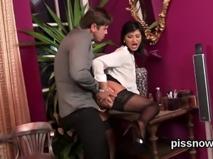 Surprised honey in lingerie is geeting peed on and drilled