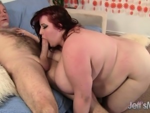 Fat bitch with huge tits does sixty-nine in between getting hammered
