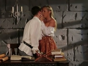 Alluring blonde seductress Samantha Saint gets her shaved cunny nailed