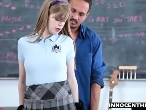Cute girl fucks her teacher to pass the class