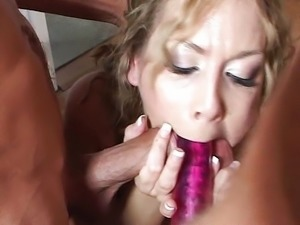 Babes butt slammed by two cocks