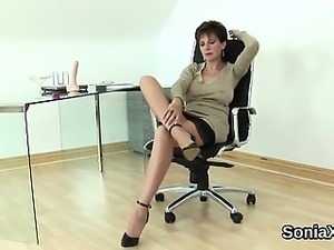 Unfaithful english mature lady sonia pops out her oversized