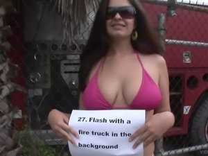 Curvy brunette chick boasts of her massive natural tits