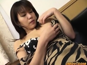 Naughty Isshiki gets out her fishnets and fucks herself on a