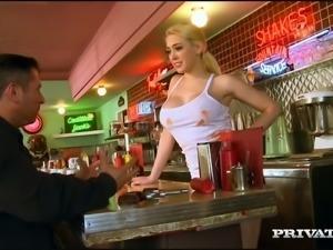 Delicious blond waitress Kagney Linn Karter sucks brutal man off by the car...