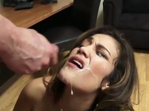 Lustful brunette babe Devyn Heart banged by her boss at work