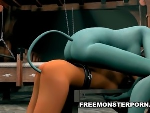 3D Dyke Fucked With a Toy by an Alien