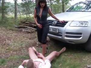 Sexy Tera Joy lets the guy piss all over her deep in the woods
